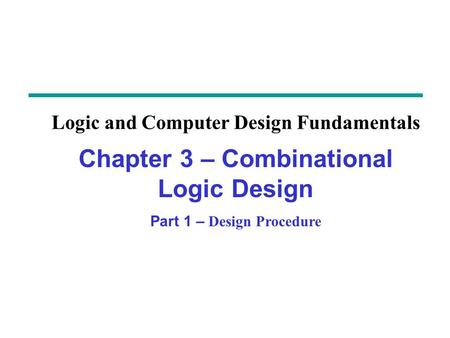 Overview Part 1 – Design Procedure 3-1 Design Procedure