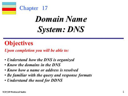 TCP/IP Protocol Suite 1 Chapter 17 Upon completion you will be able to: Domain Name System: DNS Understand how the DNS is organized Know the domains in.