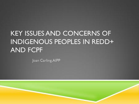 KEY ISSUES AND CONCERNS OF INDIGENOUS PEOPLES IN REDD+ AND FCPF Joan Carling, AIPP.