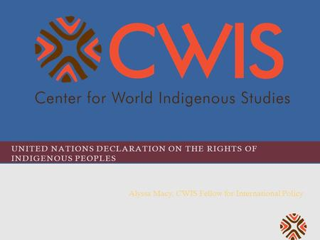 UNITED NATIONS DECLARATION ON THE RIGHTS OF INDIGENOUS PEOPLES Alyssa Macy, CWIS Fellow for International Policy.