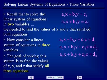 Table of Contents Recall that to solve the linear system of equations in two variables... we needed to find the values of x and y that satisfied both equations.