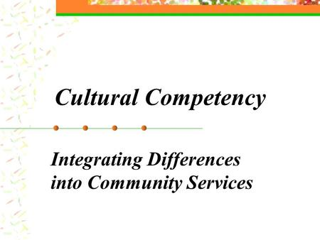 Cultural Competency Integrating Differences into Community Services.