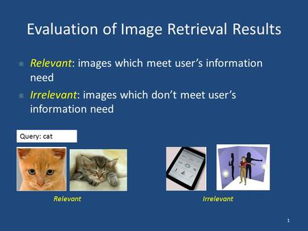 Evaluation of Image Retrieval Results Relevant: images which meet user's information need Irrelevant: images which don't meet user's information need Query: