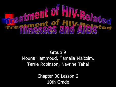 Group 9 Mouna Hammoud, Tamelia Malcolm, Terrie Robinson, Navrine Tahal Chapter 30 Lesson 2 10th Grade.