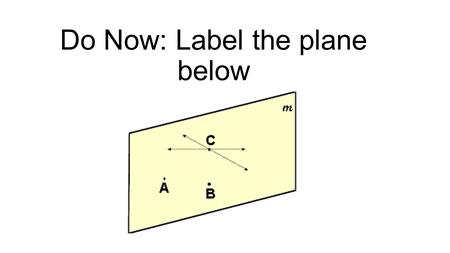 Do Now: Label the plane below. Objectives SWBAT use the midpoint and distance formulas.