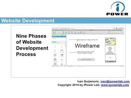Website Development Nine Phases of Website Development Process Ivan Surjanovic, Copyright 2014 by iPower Lab,