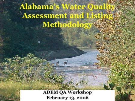 Alabama's Water Quality Assessment and Listing Methodology ADEM QA Workshop February 13, 2006.