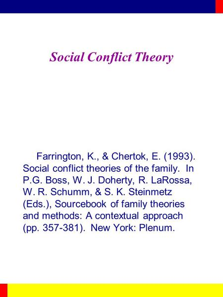 Social Conflict Theory Farrington, K., & Chertok, E. (1993). Social conflict theories of the family. In P.G. Boss, W. J. Doherty, R. LaRossa, W. R. Schumm,