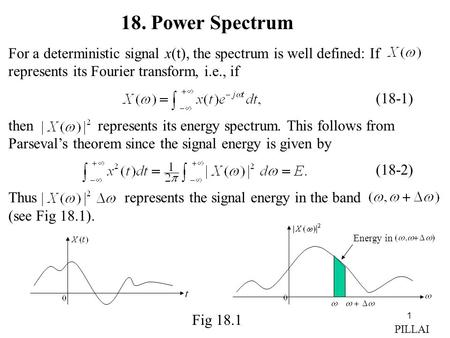 1 For a deterministic signal x(t), the spectrum is well defined: If represents its Fourier transform, i.e., if then represents its energy spectrum. This.