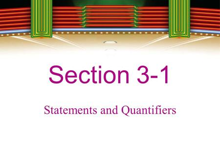 Statements and Quantifiers