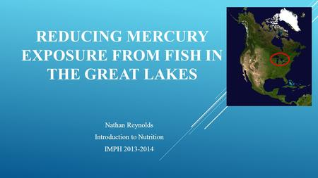 REDUCING MERCURY EXPOSURE FROM FISH IN THE GREAT LAKES Nathan Reynolds Introduction to Nutrition IMPH 2013-2014.