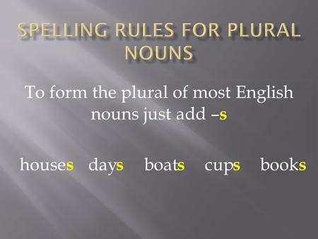 To form the plural of most English nouns just add – s house day boat cup book s s sss.