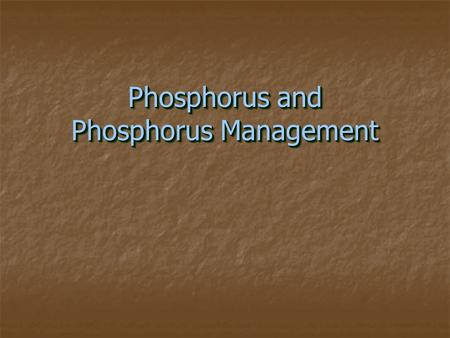 Phosphorus and Phosphorus Management. Outline − Introduction − P Sources − P Transport − Environmental Concerns − P Management − Summary.