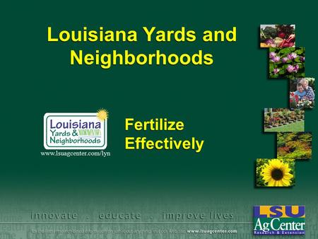 Louisiana Yards and Neighborhoods Fertilize Effectively www.lsuagcenter.com/lyn.