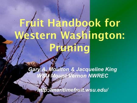 Fruit Handbook for Western Washington: Pruning Gary A. Moulton & Jacqueline King WSU Mount Vernon NWREC