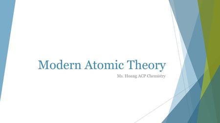 Modern Atomic Theory Ms. Hoang ACP Chemistry. Summary  Visible light is a small section of the EM spectrum  Light exhibits wave-like and particle-like.