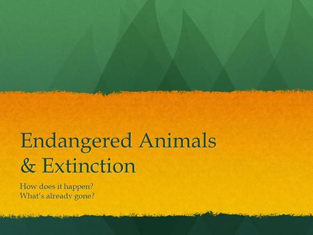 Endangered Animals & Extinction How does it happen? What's already gone?