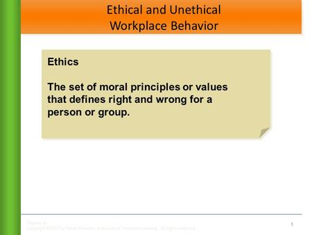 Chapter 4 Copyright ©2007 by South-Western, a division of Thomson Learning. All rights reserved Ethical and Unethical Workplace Behavior 1 Ethics The set.
