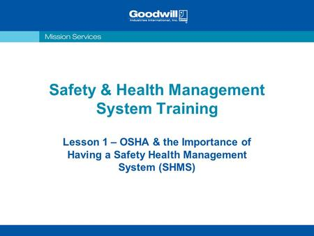 Safety & Health Management System Training
