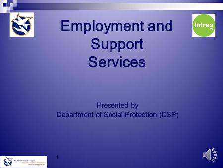 1 Employment and Support Services Presented by Department of Social Protection (DSP)