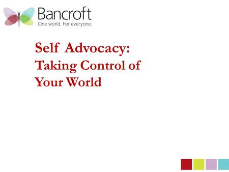 Self Advocacy: Taking Control of Your World. Self Advocacy: What is it? Taking action to represent and advance your own interests & beliefs.