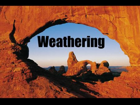 Weathering. Weathering: the physical and chemical breakdown of rocks into smaller particles called sediments.