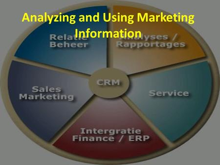 Analyzing and Using Marketing Information. How is the Information Analyzed??? Information is gathered in internal databases and through marketing intelligence.