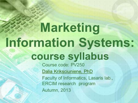 Marketing Information Systems: course syllabus