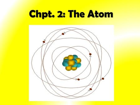 Chpt. 2: The Atom History of the Atom 1.Greek Philosophers (400BC): - first proposed that matter was composed of minute particles - believed that the.