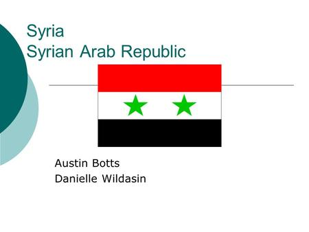 Syria Syrian Arab Republic Austin Botts Danielle Wildasin.