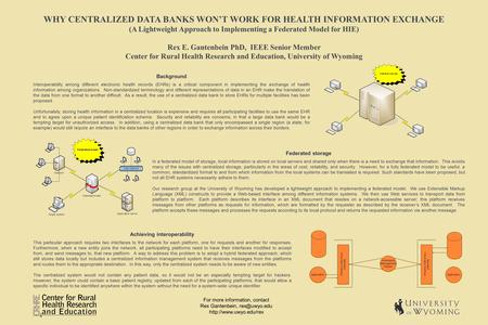 WHY CENTRALIZED DATA BANKS WON'T WORK FOR HEALTH INFORMATION EXCHANGE (A Lightweight Approach to Implementing a Federated Model for HIE) Rex E. Gantenbein.