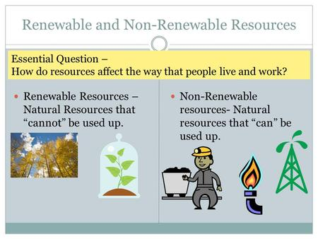 "Renewable and Non-Renewable Resources Renewable Resources – Natural Resources that ""cannot"" be used up. Non-Renewable resources- Natural resources that."