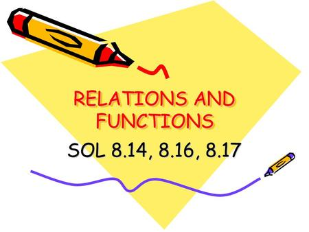 RELATIONS AND FUNCTIONS SOL 8.14, 8.16, 8.17. Vocabulary Relation: A relation is a set of ordered pairs.