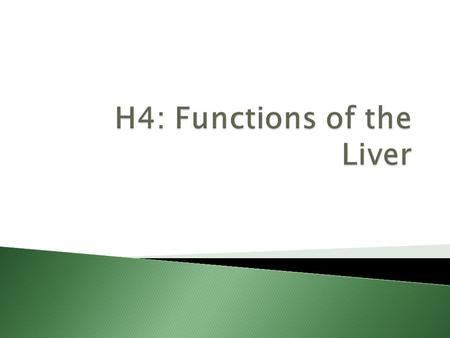 H4: Functions of the Liver