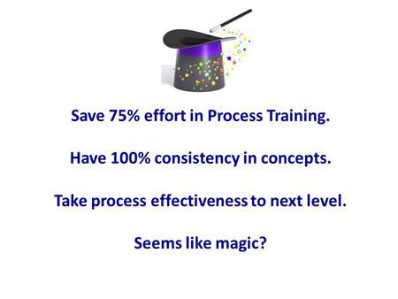 Save 75% effort in Process Training. Have 100% consistency in concepts. Take process effectiveness to next level. Seems like magic?
