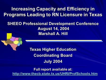 Increasing Capacity and Efficiency in Programs Leading to RN Licensure in Texas Texas Higher Education Coordinating Board July 2004 Full report available.