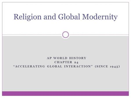 Religion and Global Modernity