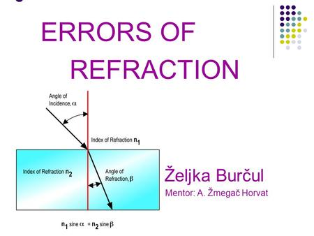 5 ERRORS OF REFRACTION Željka Burčul Mentor: A. Žmegač Horvat.