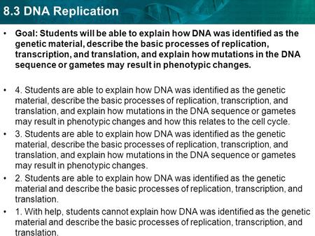 Goal: Students will be able to explain how DNA was identified as the genetic material, describe the basic processes of replication, transcription, and.