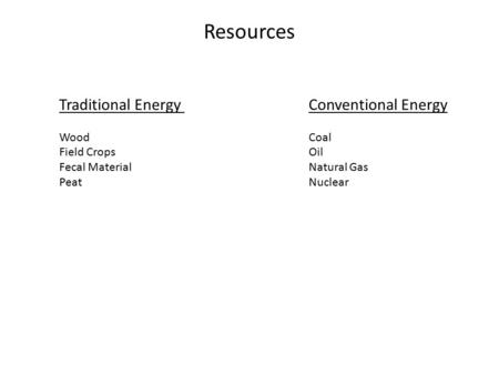 Resources Traditional Energy Conventional Energy Wood Coal