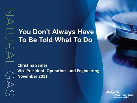 You Don't Always Have To Be Told What To Do Christina Sames Vice President Operations and Engineering November 2011.