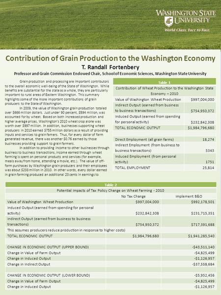 Contribution of Grain Production to the Washington Economy T. Randall Fortenbery Professor and Grain Commission Endowed Chair, School of Economic Sciences,