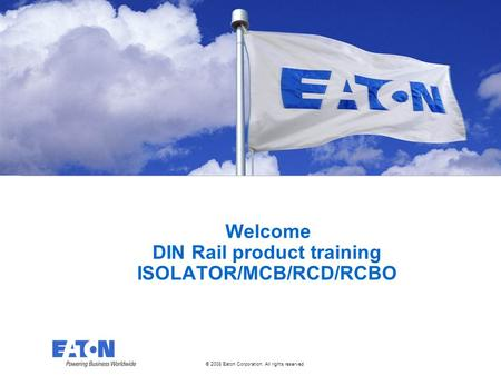 © 2008 Eaton Corporation. All rights reserved. This is a photographic template – your photograph should fit precisely within this rectangle. Welcome DIN.