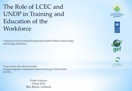 The Role of LCEC and UNDP in Training and Education of the Workforce Training and Educational Programme related to Renewable Energy and Energy Efficiency.