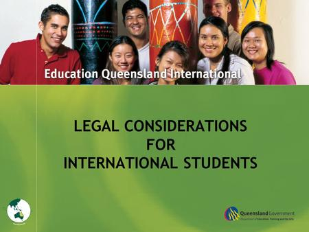 Title Goes Here LEGAL CONSIDERATIONS FOR INTERNATIONAL STUDENTS.
