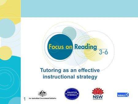 1 Tutoring as an effective instructional strategy.