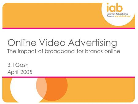 Online Video Advertising The impact of broadband for brands online Bill Gash April 2005.