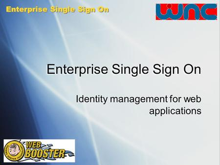 Enterprise Single Sign On Identity management for web applications.