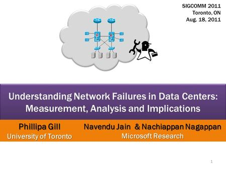 Understanding Network Failures in Data Centers: Measurement, Analysis and Implications Phillipa Gill University of Toronto Navendu Jain & Nachiappan Nagappan.