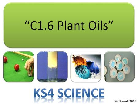"""C1.6 Plant Oils"" Mr Powell 2013. Index Syllabus... C1.6 Plant oils and their uses Many plants produce useful oils that can be converted into consumer."